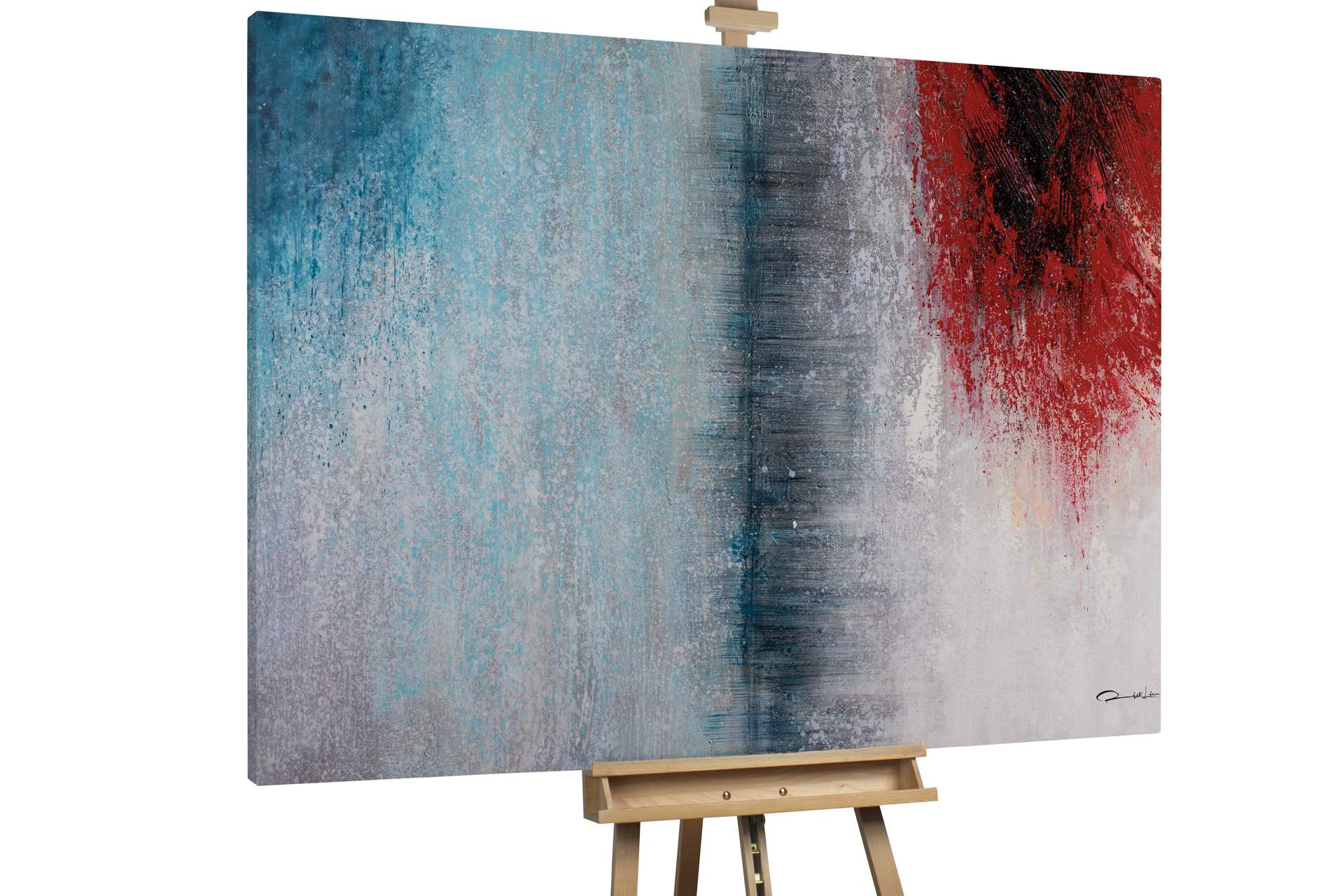 kl shading abstract blue red oil paintings oil pictures unique hand painted pieces modern art 0001 01