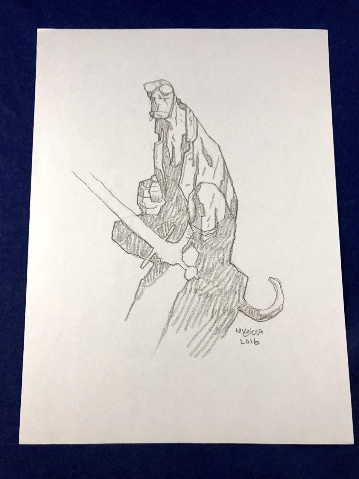 drawing sketch image ebay awesome hellboy full body original art sketch and signed by mike mignola no photograph of drawing sketch image ebay