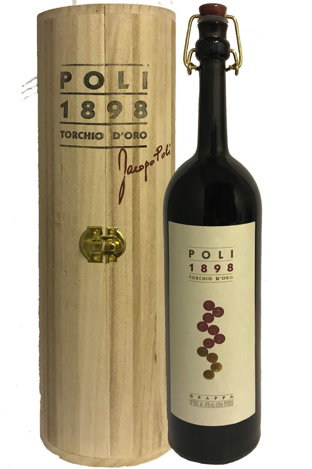 Jacopo Poli TORCHIO DORO 40 In runder HOLZ GP Jahrgang Grappa Italien 0 7 Liter
