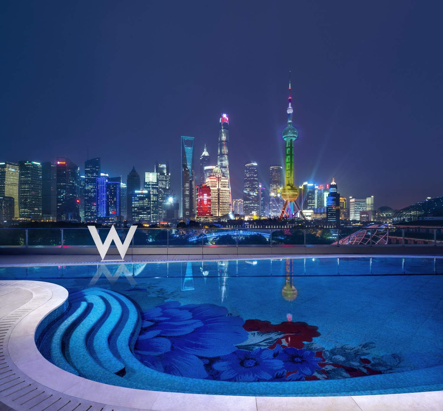 W Shanghai WET Swimming Pool at Night
