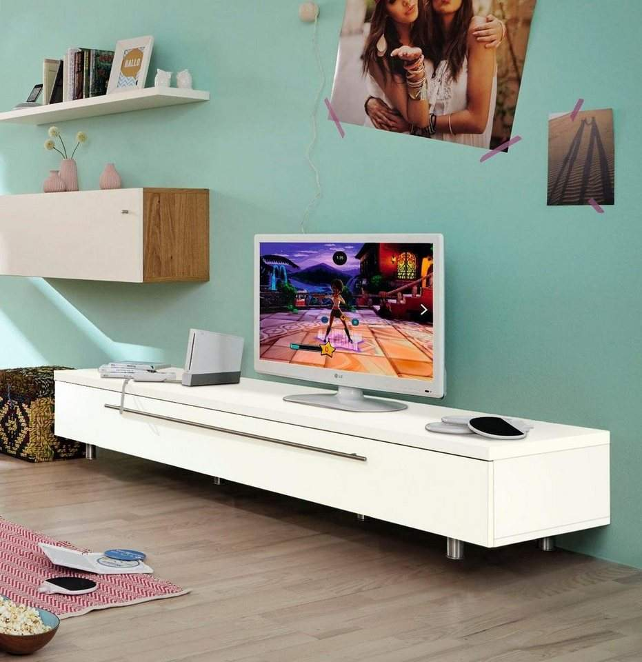 now by huelsta tv lowboard now time breite 190 cm lack weiss