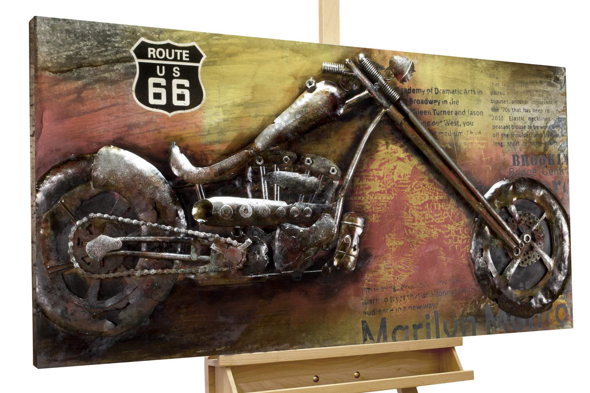 Wohnzimmer Ge Elegant Metal Painting Outlaw Bike 47x24x3 Inches